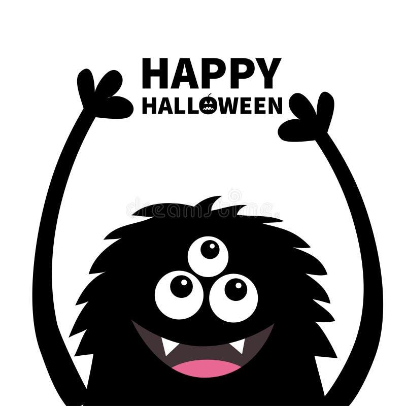 愉快的万圣节 微笑的妖怪顶头剪影 Thtee注视,牙,舌头,蓬松头发,手  黑滑稽的逗人喜爱的动画片轮藻属 库存例证