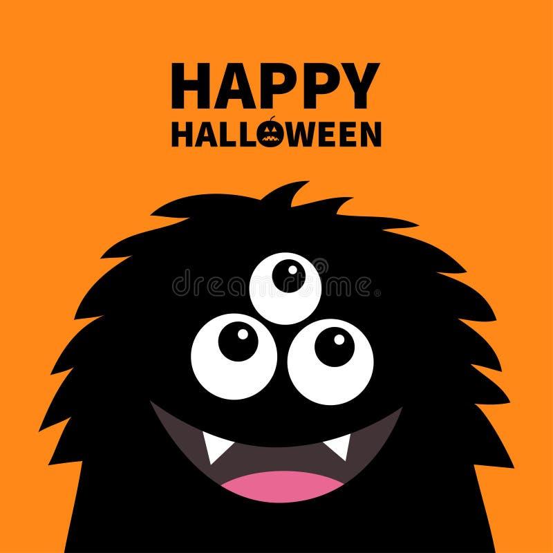 愉快的万圣节 微笑的妖怪顶头剪影 Thtee注视,牙,舌头,蓬松头发 黑滑稽的逗人喜爱的漫画人物 婴孩 向量例证