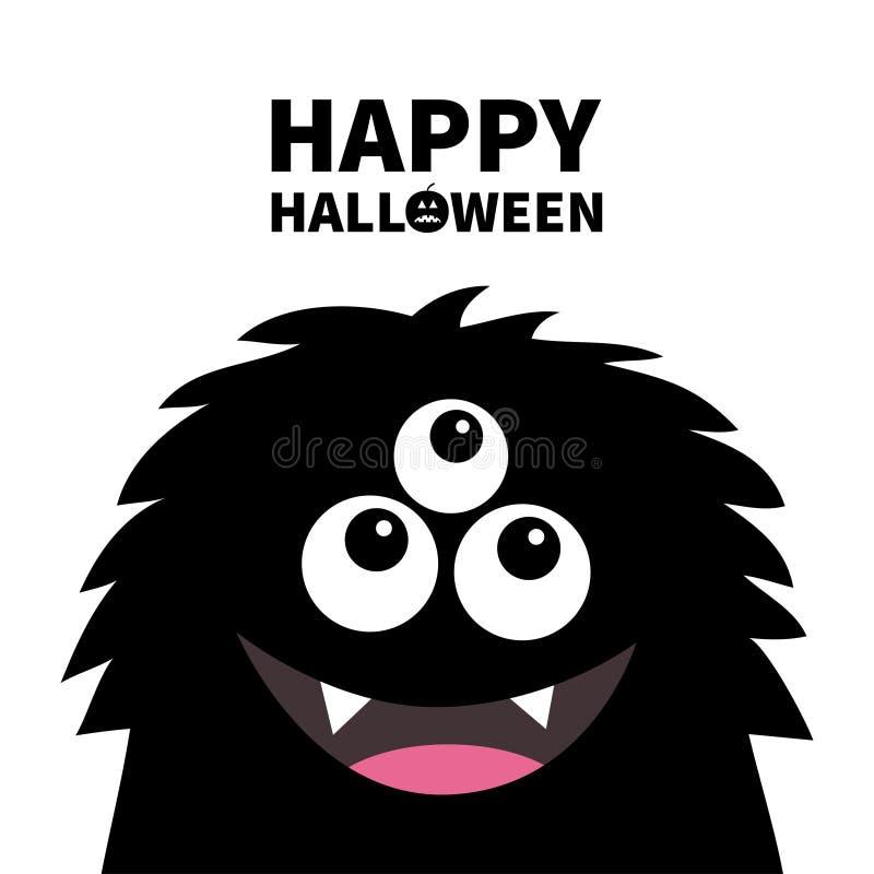 愉快的万圣节 微笑的妖怪顶头剪影 Thtee注视,牙,舌头,蓬松头发 黑滑稽的逗人喜爱的漫画人物 婴孩 皇族释放例证