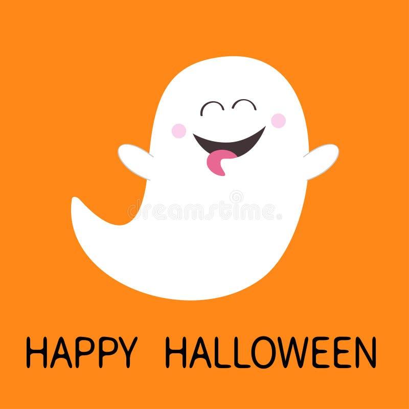 愉快的万圣节 显示舌头的鬼魂精神 笨蛋 可怕白色鬼魂 逗人喜爱的动画片鬼的字符 微笑的面孔,手 橙色 库存例证