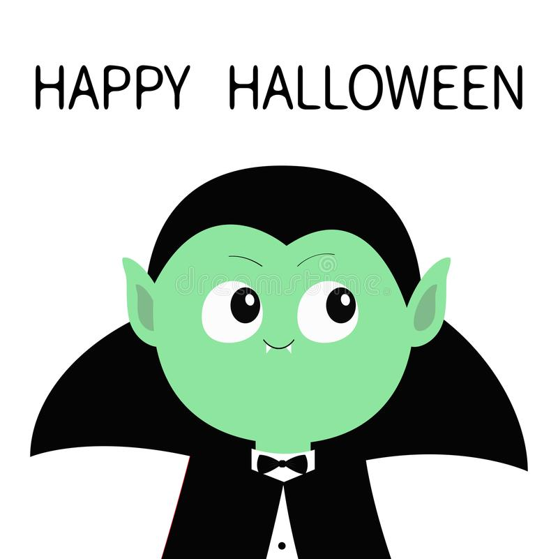 愉快的万圣节 计数佩带黑海角的德雷库拉 逗人喜爱的动画片滑稽的鬼的吸血鬼婴孩字符 与犬齿的绿色面孔 Greeti 向量例证