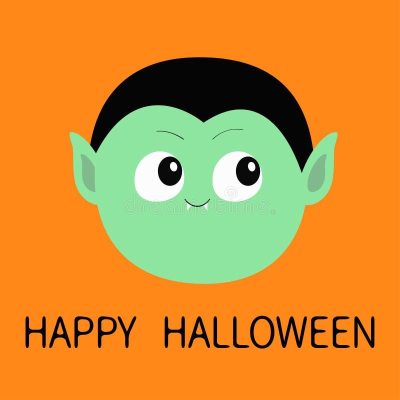 愉快的万圣节 计数德雷库拉圆的头 逗人喜爱的动画片滑稽的鬼的吸血鬼婴孩字符 与犬齿的绿色面孔 2007个看板卡招呼的新年好 皇族释放例证