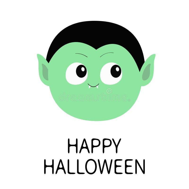 愉快的万圣节 计数德雷库拉圆的头 逗人喜爱的动画片滑稽的鬼的吸血鬼婴孩字符 与犬齿的绿色面孔 2007个看板卡招呼的新年好 库存例证