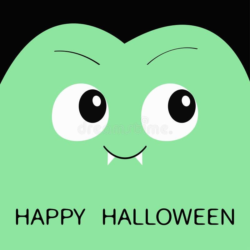 愉快的万圣节 计数德雷库拉广场头 逗人喜爱的动画片滑稽的鬼的吸血鬼婴孩字符 与犬齿,眼睛,头发, b的绿色面孔 皇族释放例证
