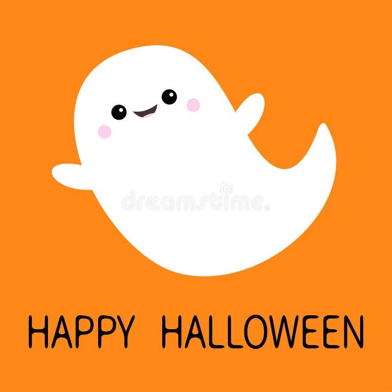 愉快的万圣节 飞行鬼魂精神 笨蛋 可怕白色鬼魂 逗人喜爱的动画片鬼的字符 微笑的面孔,手 橙色backgrou 皇族释放例证
