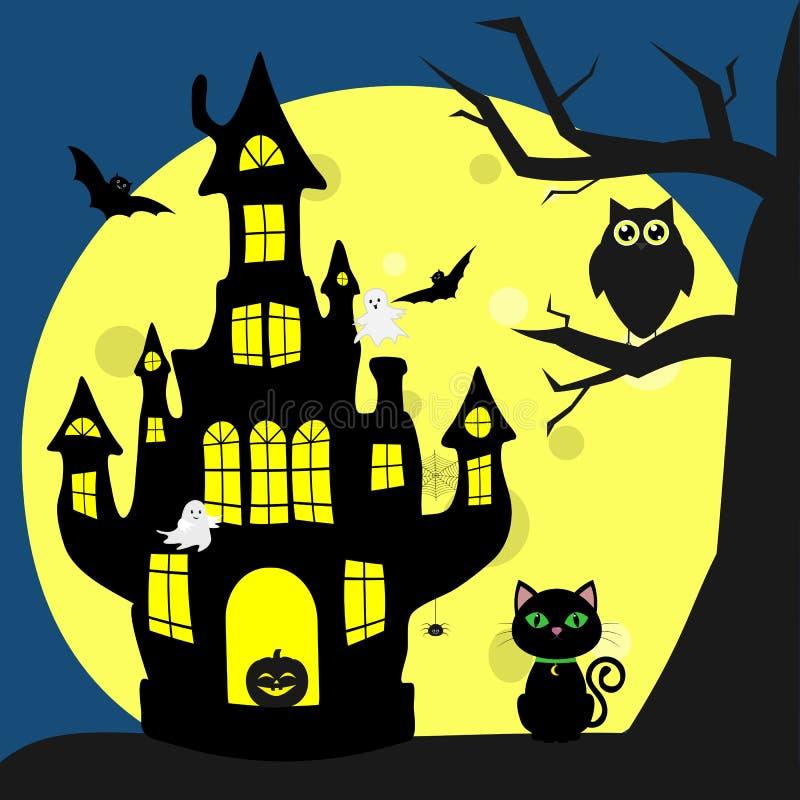 愉快的万圣节 Helluinsky恶意嘘声在巫婆的房子旁边坐 树,猫头鹰,飞行的吸血鬼,蜘蛛 皇族释放例证