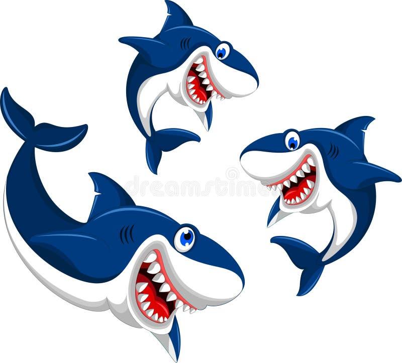 愉快的三倍鲨鱼动画片 库存例证