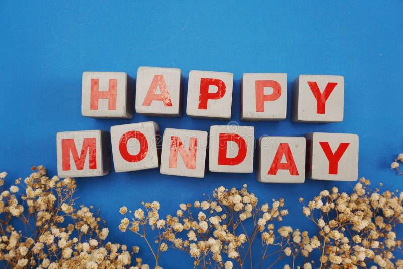 愉快的与干花的星期一木信件字母表在蓝色背景 库存照片