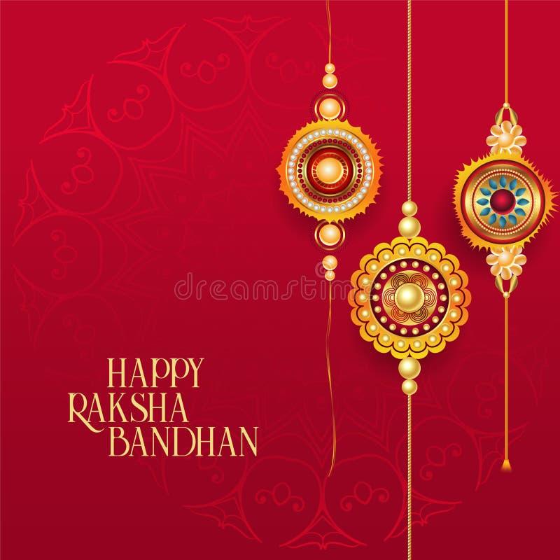 愉快的与装饰rakhi的raksha bandhan红色背景 向量例证