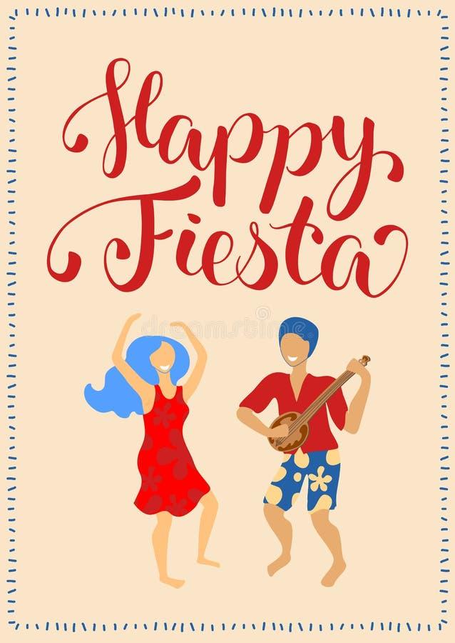 愉快的与跳舞夫妇和字法的节日垂直的卡片 拉提纳舞蹈人和妇女海报 库存例证