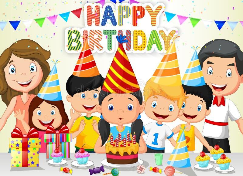愉快的与他的家庭和朋友的女孩动画片吹的生日蜡烛 库存例证