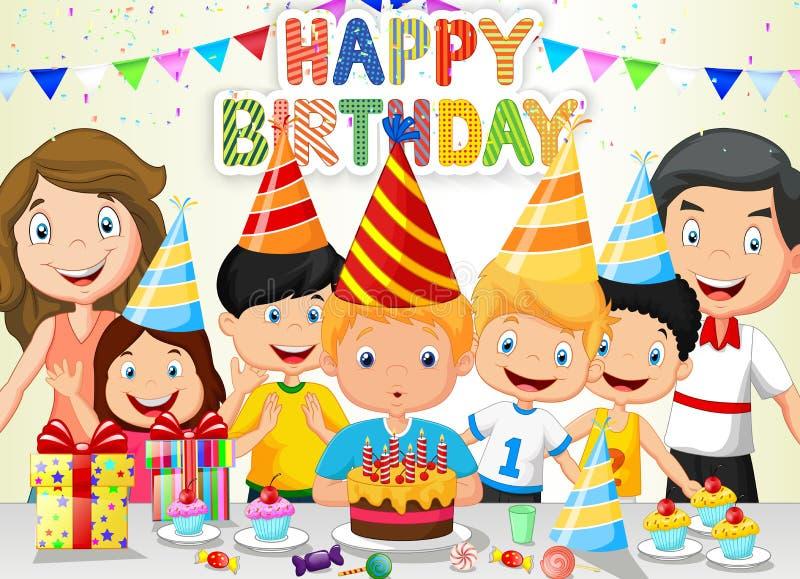 愉快的与他的家庭和朋友的男孩动画片吹的生日蜡烛 向量例证