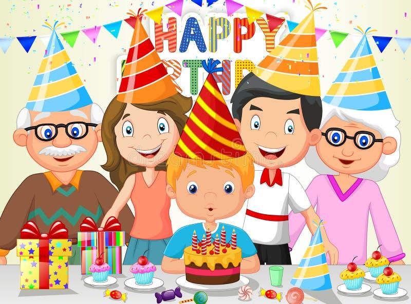 愉快的与他的家庭的男孩动画片吹的生日蜡烛 向量例证