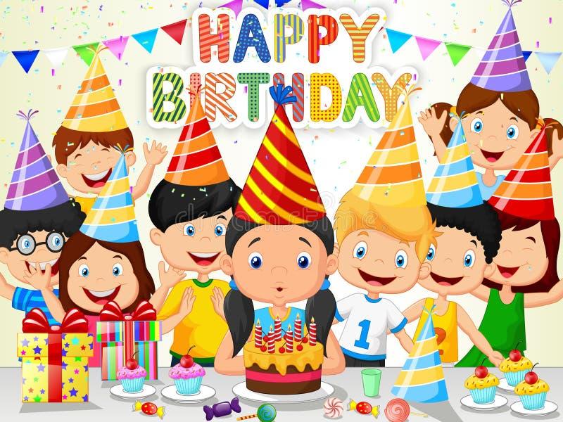 愉快的与他的朋友的女孩动画片吹的生日蜡烛 向量例证