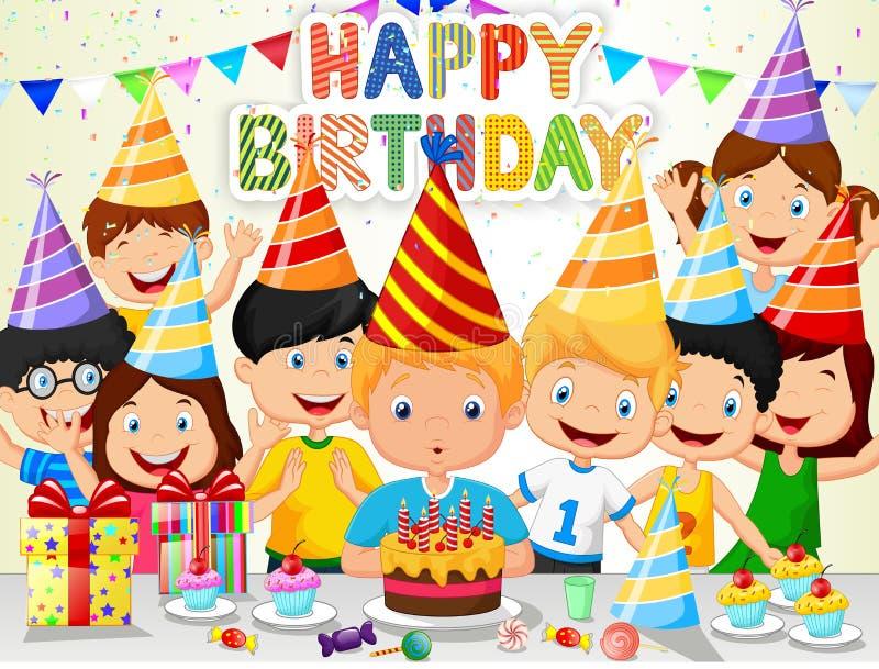 愉快的与他的朋友的男孩动画片吹的生日蜡烛 向量例证