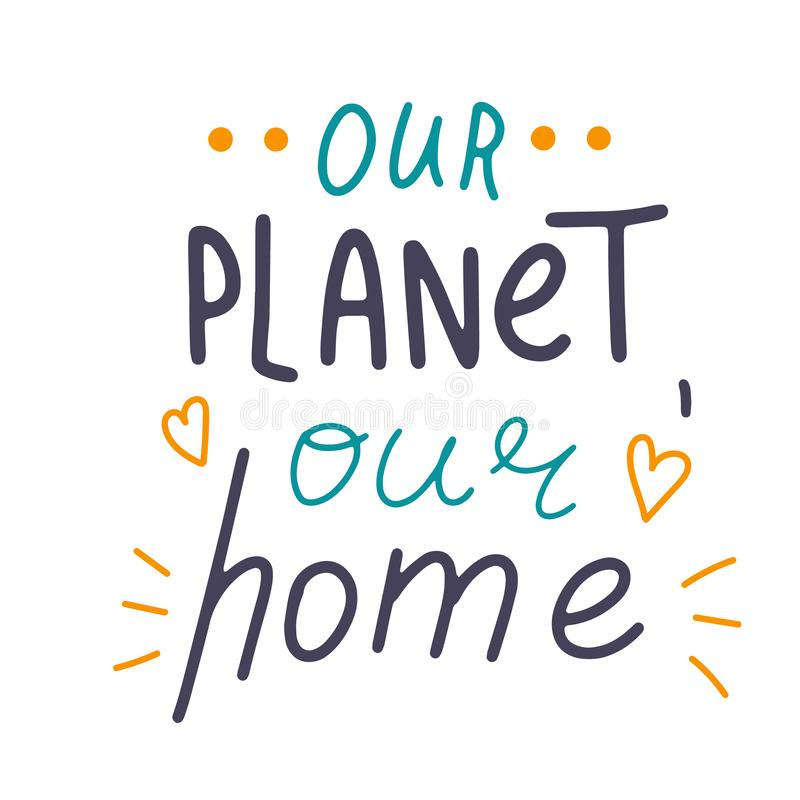 愉快的世界地球日 概念性手写的词组 手拉的印刷术海报 T恤杉手有学问的书法设计 向量例证