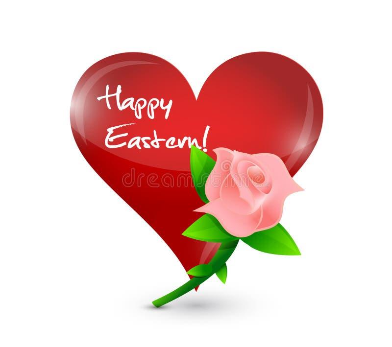 愉快的东部红色心脏和玫瑰色例证 皇族释放例证