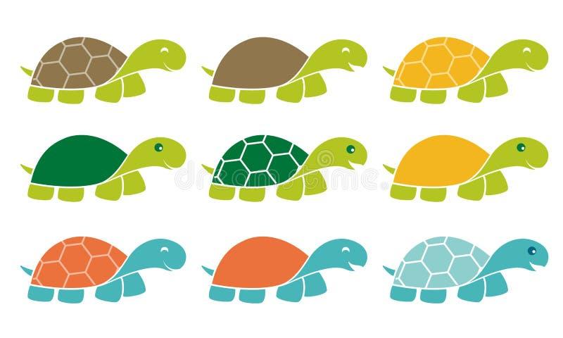 愉快的乌龟象商标集合 向量例证
