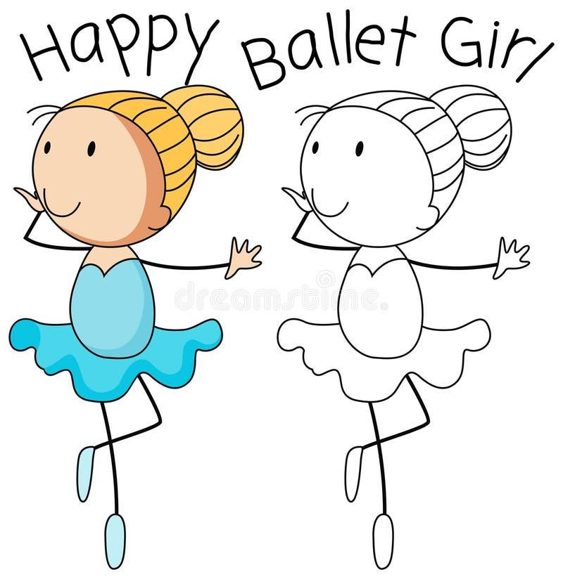 愉快的乱画女孩舞蹈 向量例证