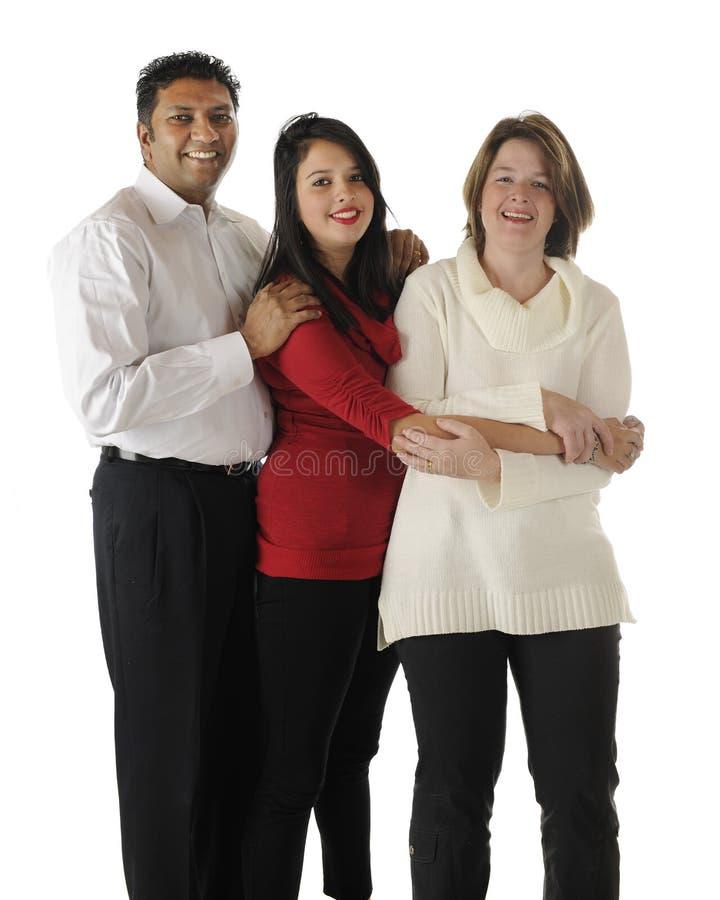 愉快的二种人种的三口之家 免版税库存照片