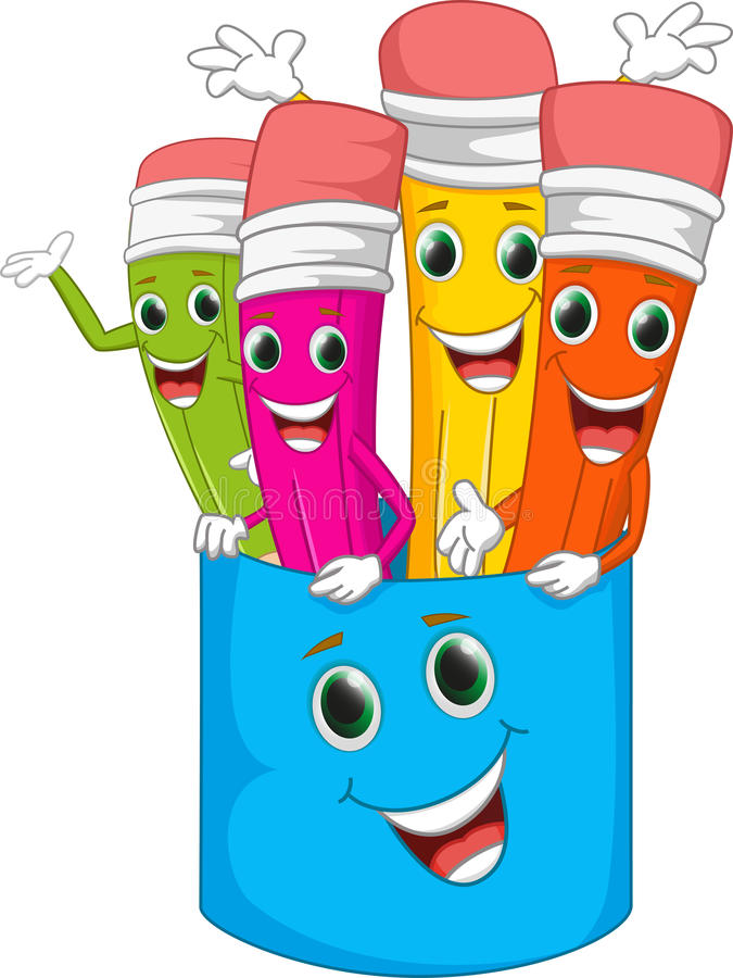 愉快的五颜六色的动画片铅笔 向量例证