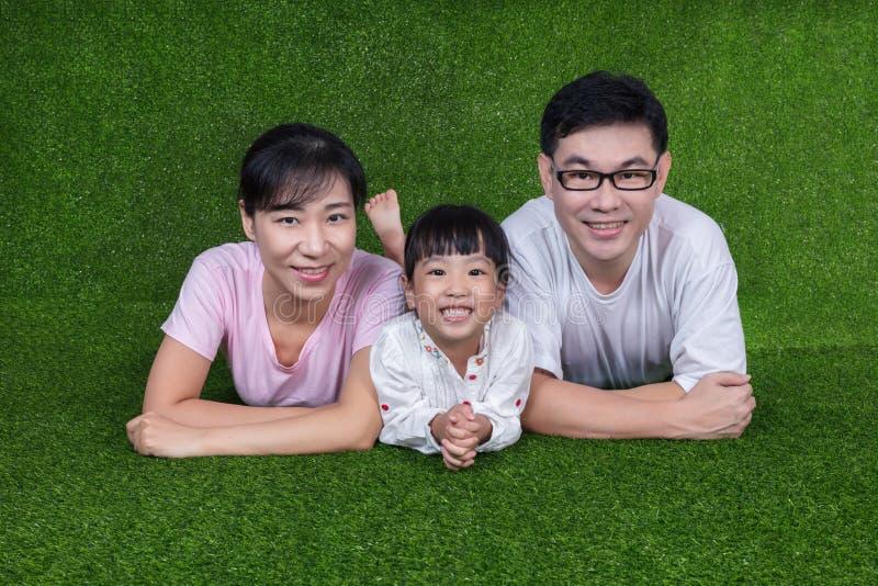 愉快的亚裔中国说谎在草的父母和女儿 库存照片