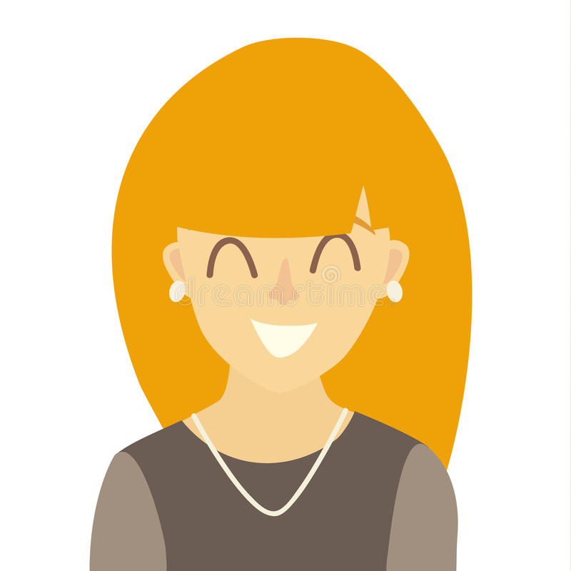 愉快的亚洲女孩象传染媒介 少妇象例证 人象平的动画片样式的面孔 向量例证