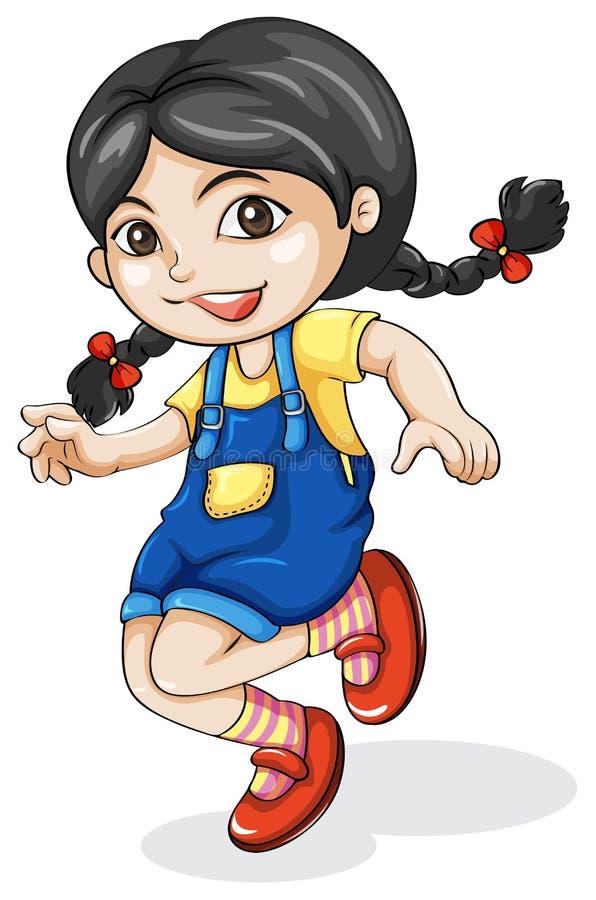 愉快的亚洲女孩跳舞 向量例证