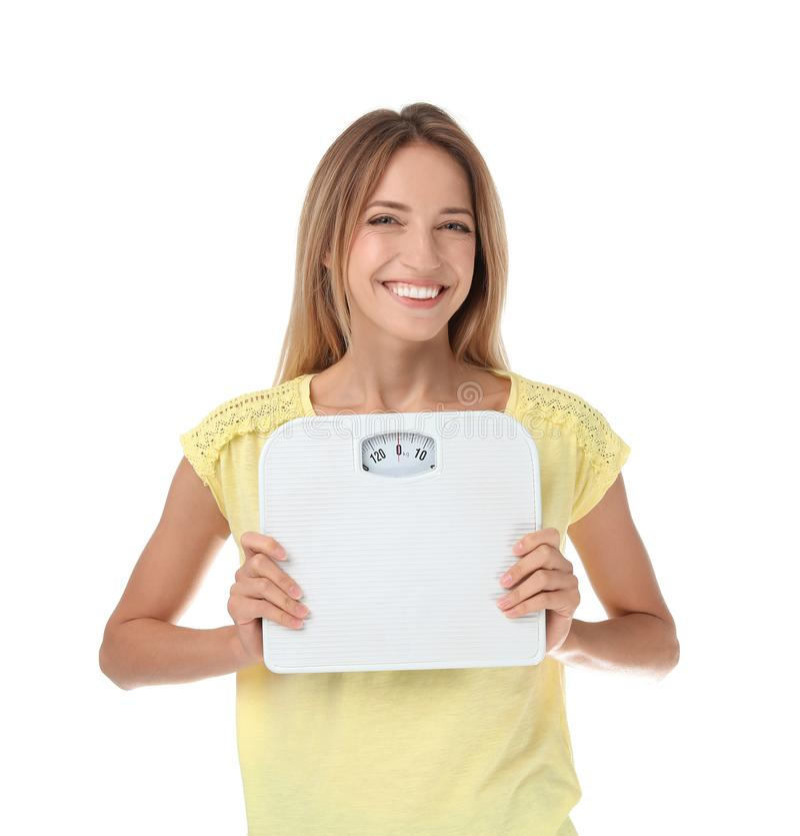 愉快的亭亭玉立的妇女满意对她的饮食发生 免版税库存照片