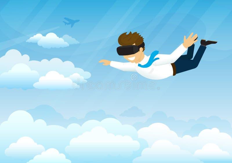 愉快的人在虚拟现实中飞行 库存例证
