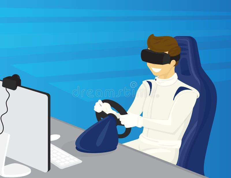 愉快的人在虚拟现实中驾驶一辆汽车 皇族释放例证