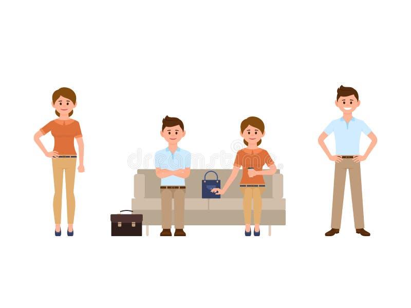 愉快的人坐沙发用横渡的手,妇女饮用的咖啡 微笑漫画人物的男人和的妇女站立和 库存例证