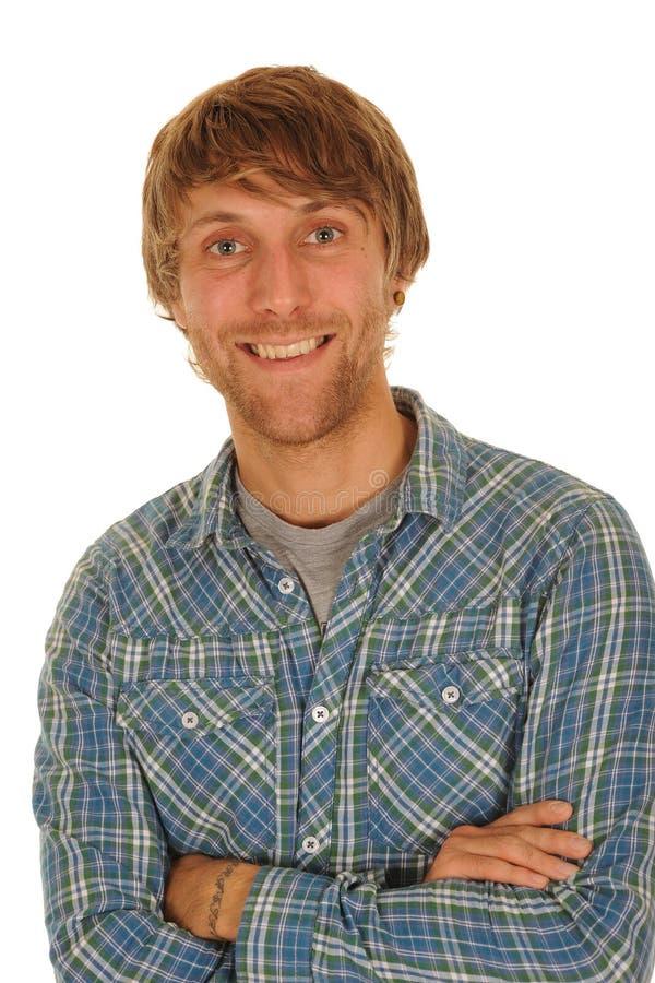 愉快的人微笑的年轻人 免版税库存照片