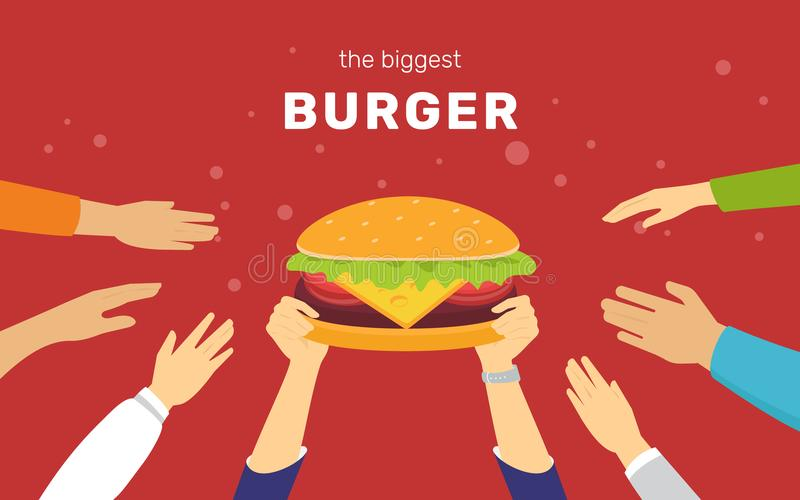愉快的人民的最大的汉堡概念传染媒介例证要食用鲜美汉堡 皇族释放例证