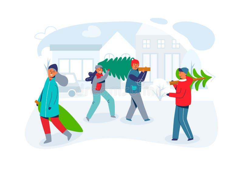 愉快的人民运载圣诞树 在新年和圣诞快乐的字符 为寒假做准备 向量例证