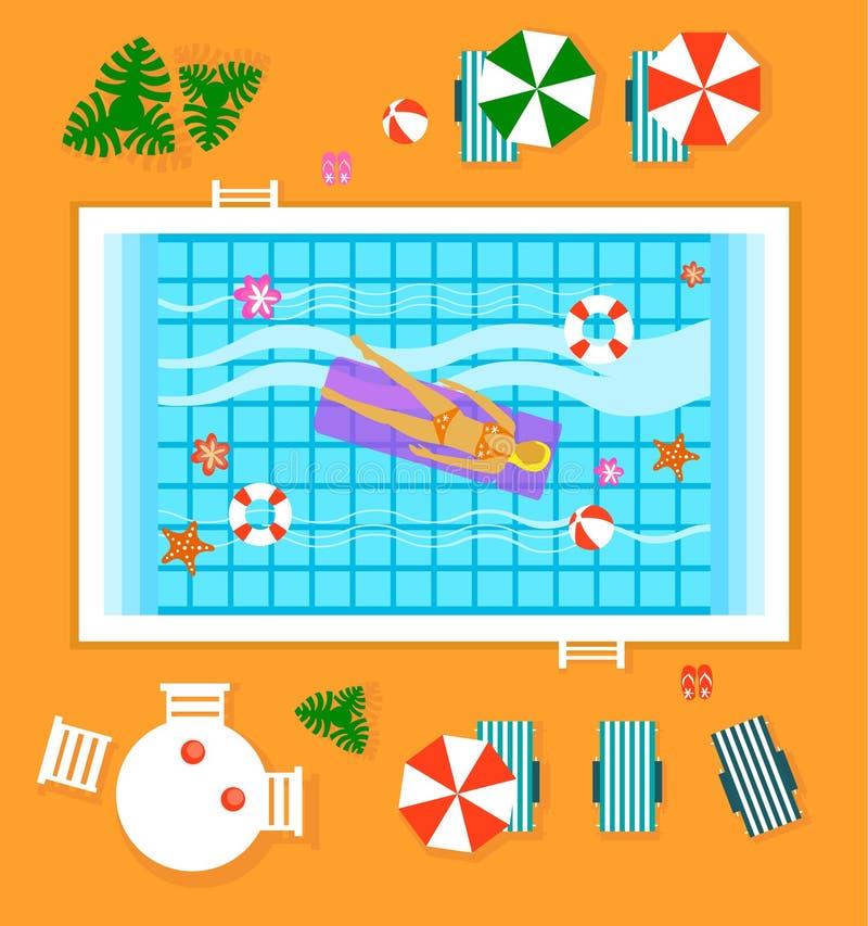 愉快的人民晴朗的水池旅馆暑假 库存例证