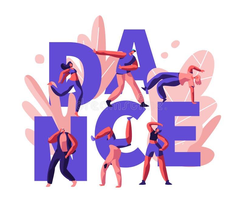 愉快的人聚成棍棒状一团和跳舞的迪斯科 DJ音乐党 年轻人和妇女字符在夜总会,夜生活跳舞 皇族释放例证