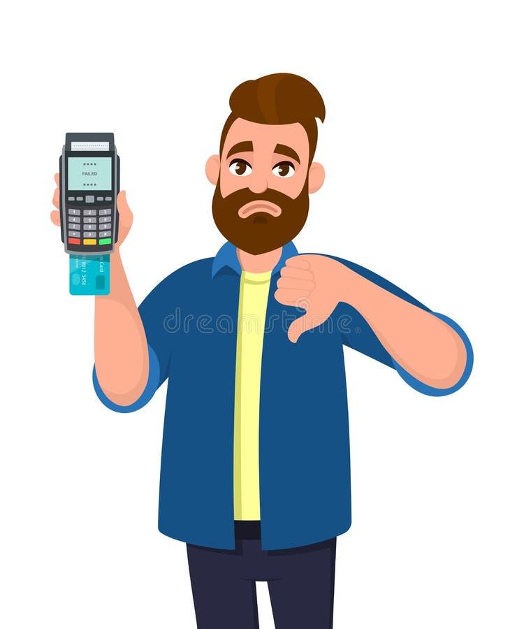 愉快的人陈列/举行信用/借记卡插入了POS终端付款卡片重击机器和打手势拇指在标志下 皇族释放例证