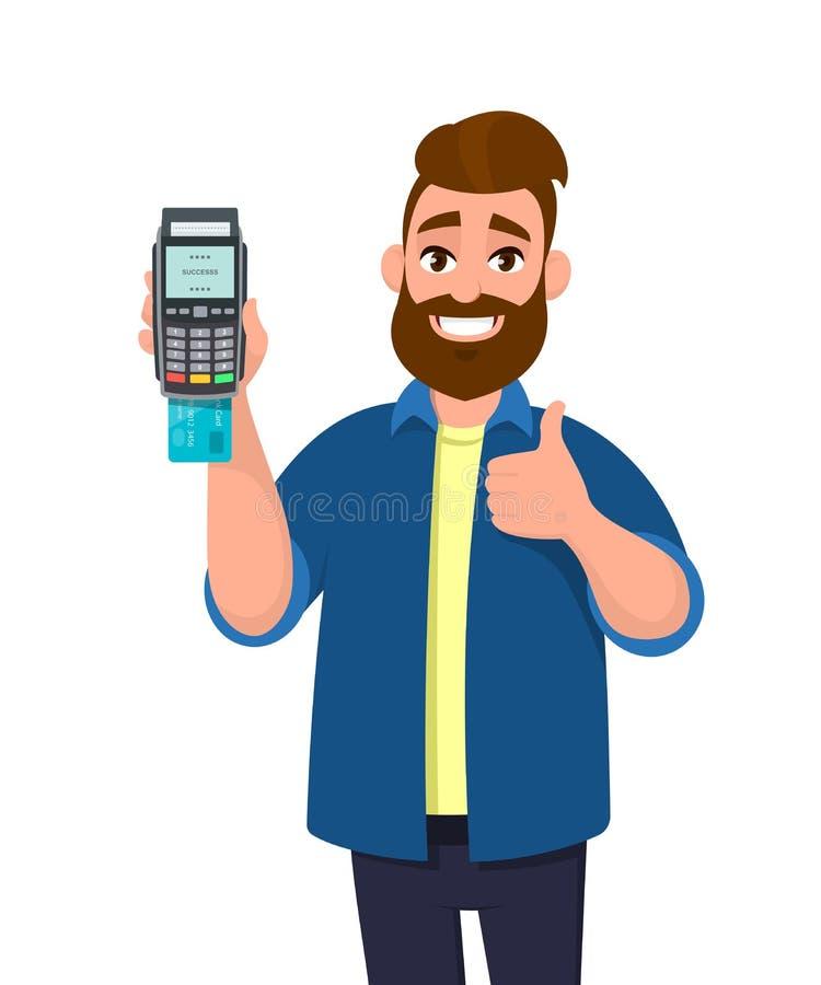 愉快的人陈列/举行信用/借记卡插入了POS终端付款卡片重击机器和打手势赞许标志 向量例证