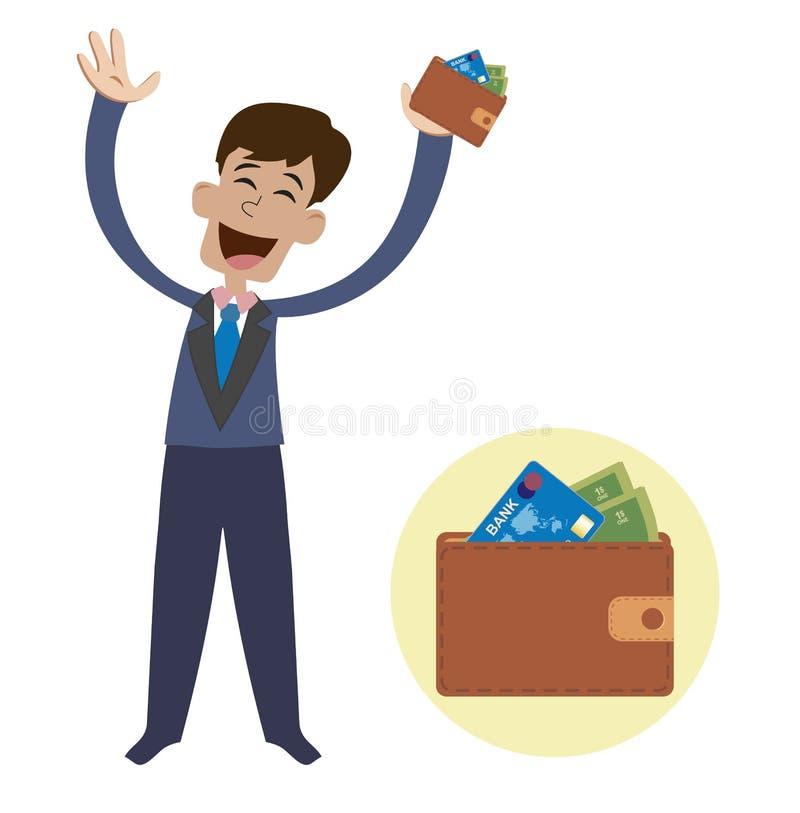 愉快的人 宣扬现有量 有一个钱包的一个快乐的人在手中在白色背景 皇族释放例证