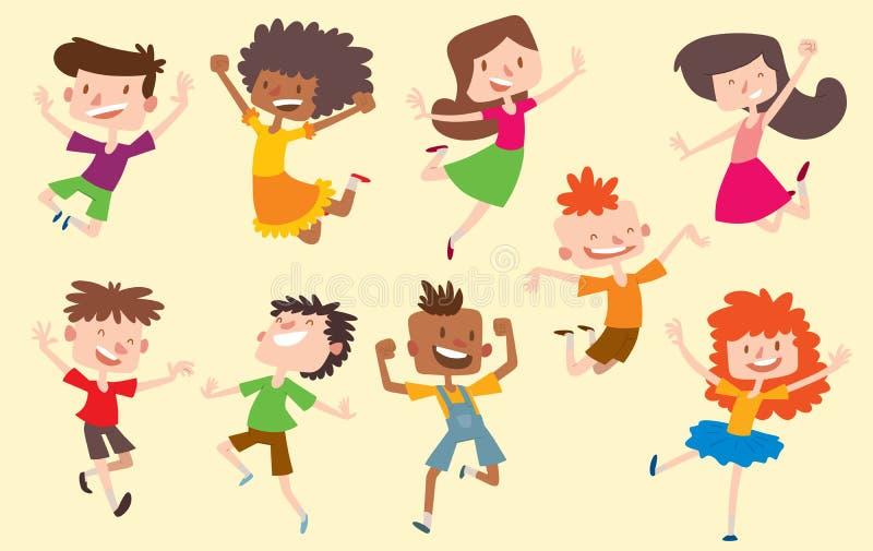 愉快的传染媒介孩子哄骗跳的姿势逗人喜爱的年轻男孩和女孩收藏 跳跃的快乐的儿童小组和滑稽 向量例证