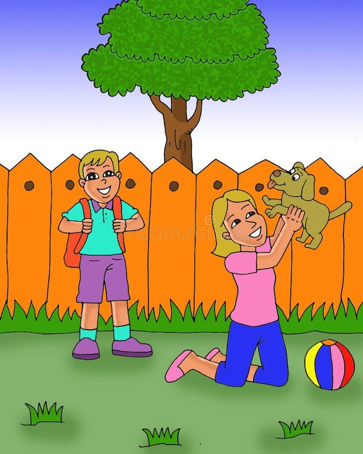 愉快的使用与狗动画片的孩子和妈妈 皇族释放例证