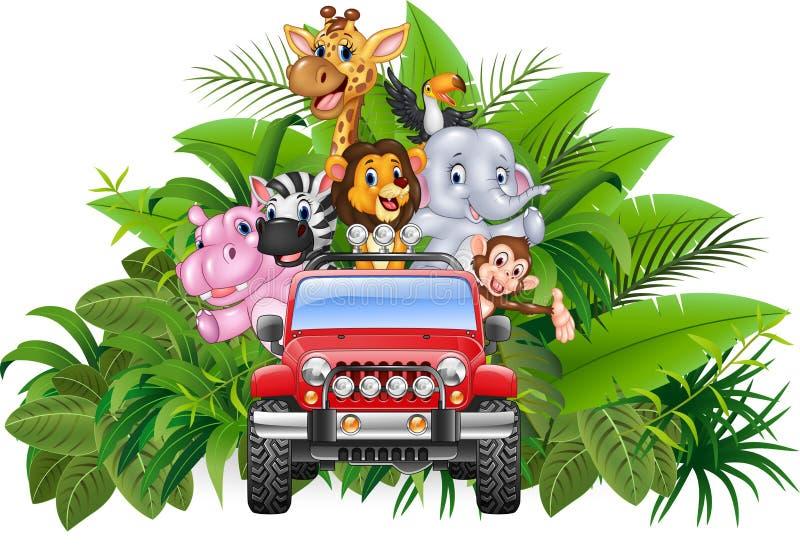 愉快的假日红色汽车的动物非洲 向量例证