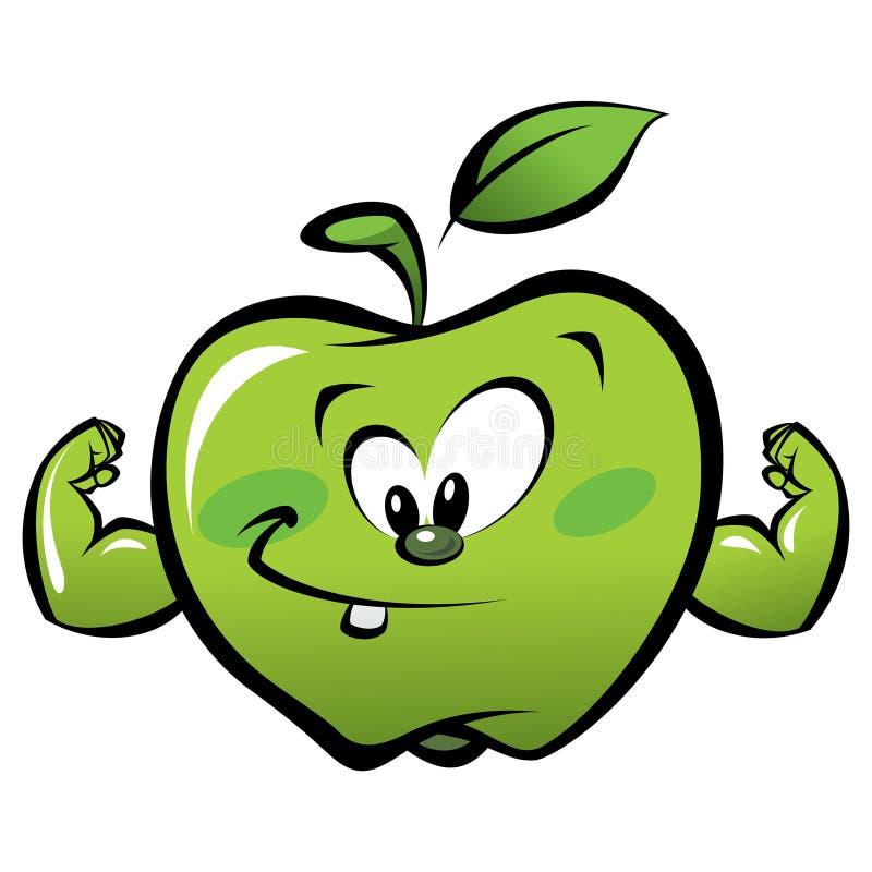 愉快的做力量姿态的动画片强的绿色苹果 皇族释放例证