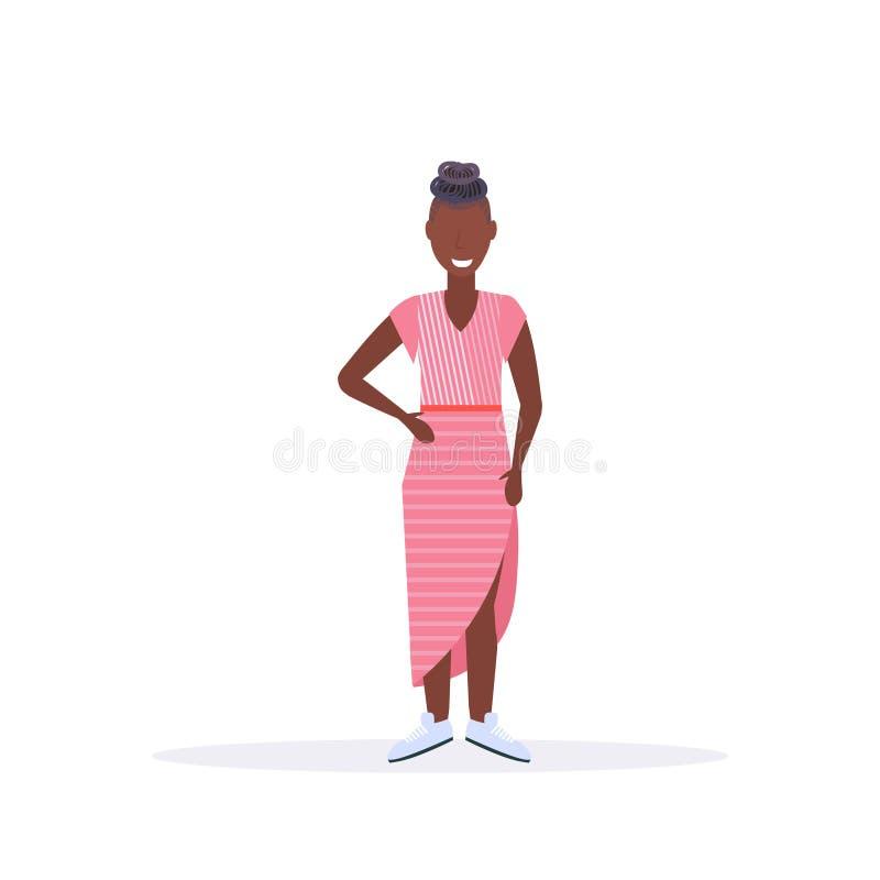 愉快的偶然妇女身分姿势微笑的非裔美国人的女孩母卡通人物全长平的白色 皇族释放例证