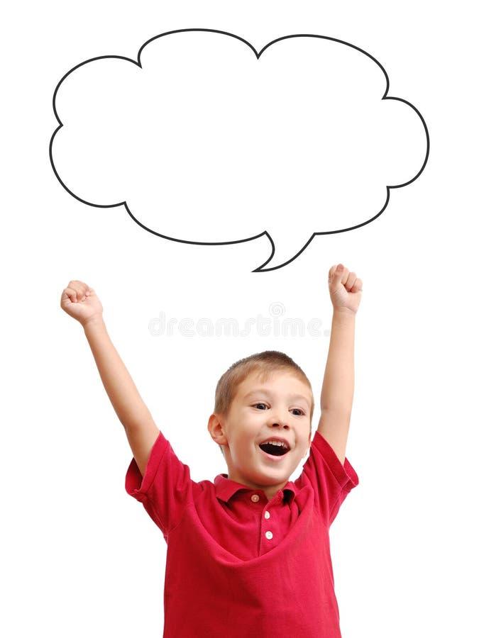愉快的儿童和讲话泡影 库存图片