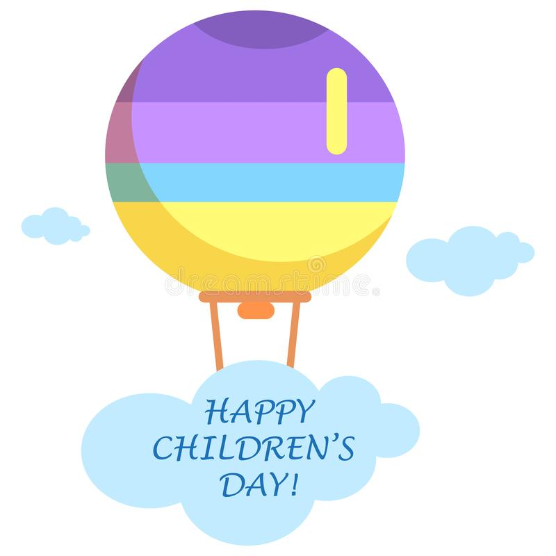 愉快的儿童的与明亮的气球的天海报 库存例证