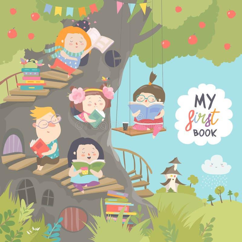 愉快的儿童阅读书在树上小屋 向量例证