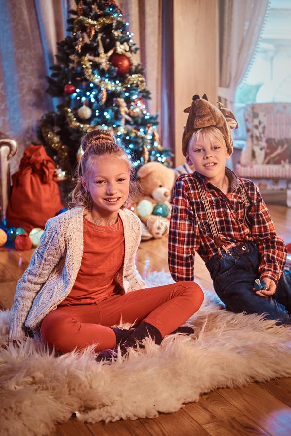 愉快的兄弟和姐妹在家坐毛皮地毯在圣诞树附近 库存照片
