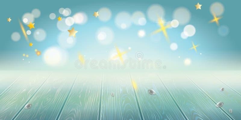 愉快的光明节欢乐Bokeh光背景 礼物&礼物Hanuka装饰的葡萄酒土气木表 皇族释放例证